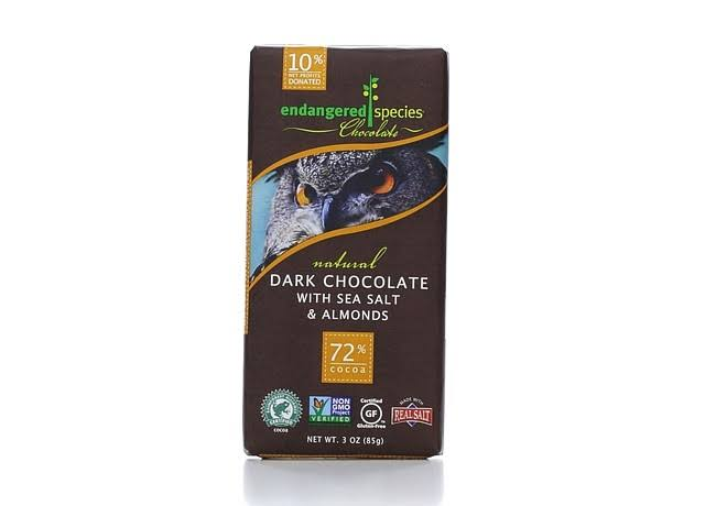 Endangered Species Chocolate - Dark Chocolate With Sea Salt and Almonds, 85g