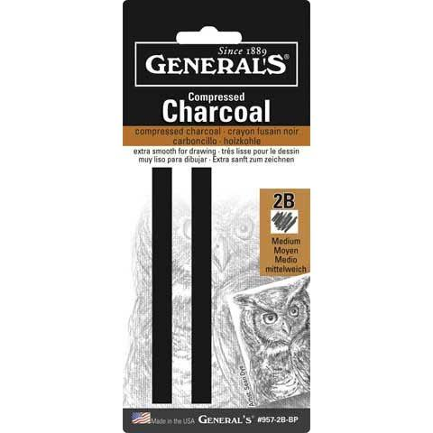 General Compressed Charcoal Stick - 6b, 2pk
