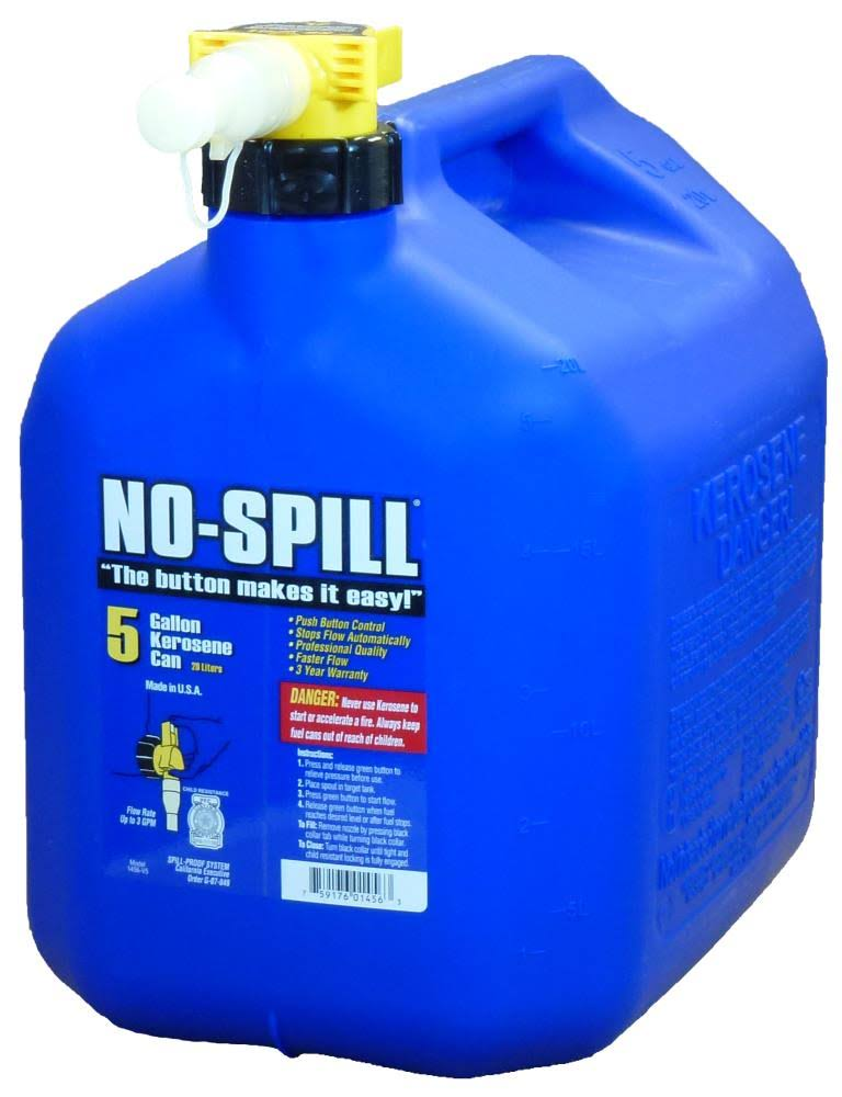 No Spill 1456 Poly Kerosene Can - 5 Gallon, Blue, 15""