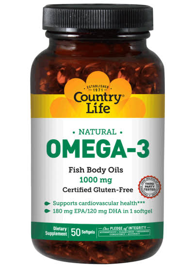 Country Life Omega-3 Fish Body Oils - 1000mg, 50 Softgels