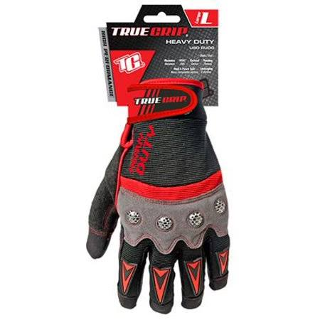 Big Time True Grip 9893-23 Heavy Duty Work Gloves - Large, Red/Gray/Black