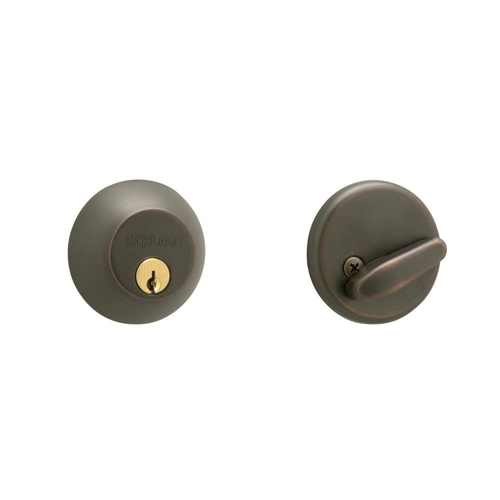 Schlage B60NV716 Single Cylinder Deadbolt - Aged Bronze