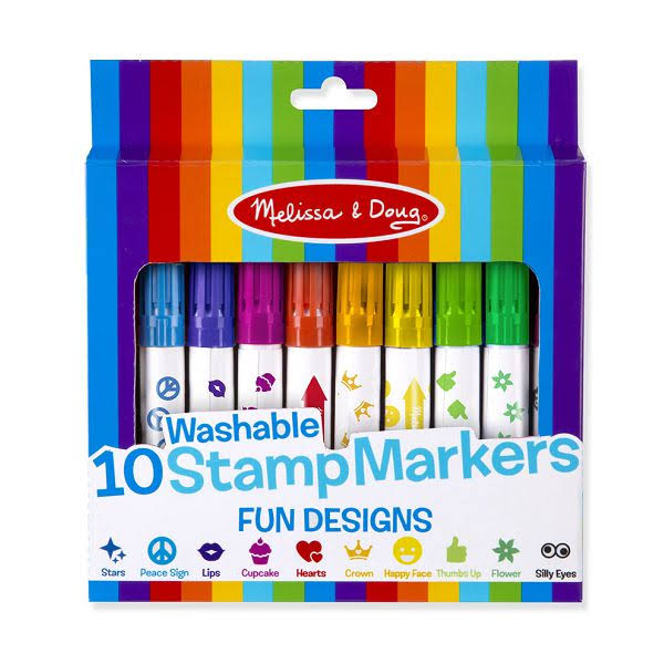 Melissa & Doug - 10 Washable Stamp Markers - Fun Designs