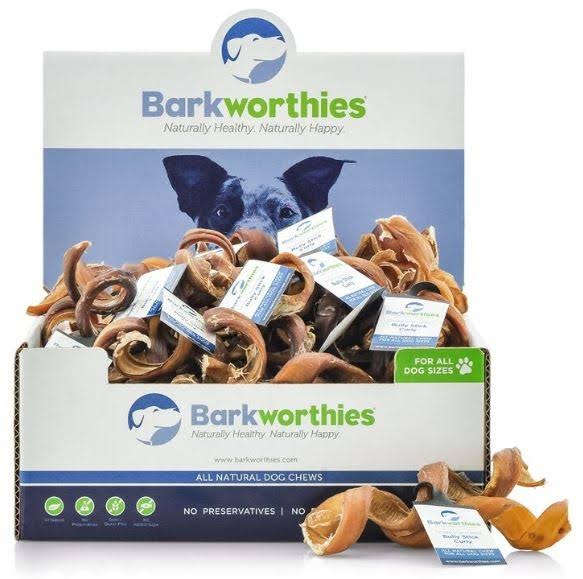 Barkworthies Premium Dog Treats - Curly Bully Sticks