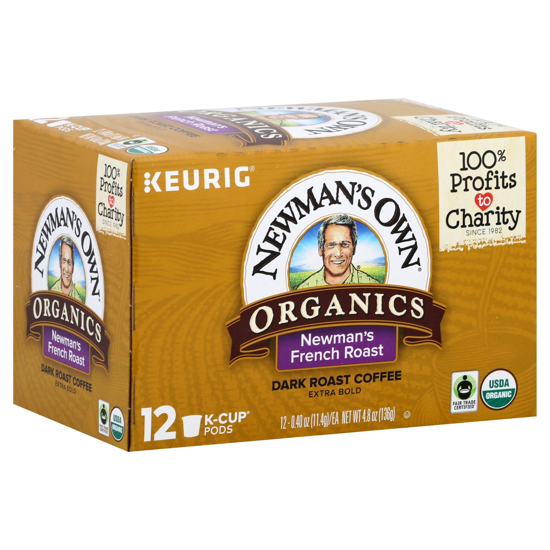 Newmans Own Keurig Organics Coffee, Dark Roast, Newman's French Roast, K-Cup Pods - 12 pack, 0.40 oz pods