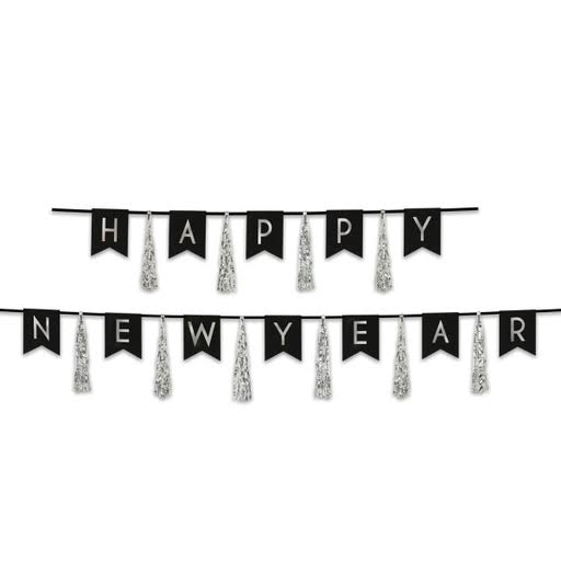 Silver Happy New Year Tassel Banner Shindigz Party Supplies