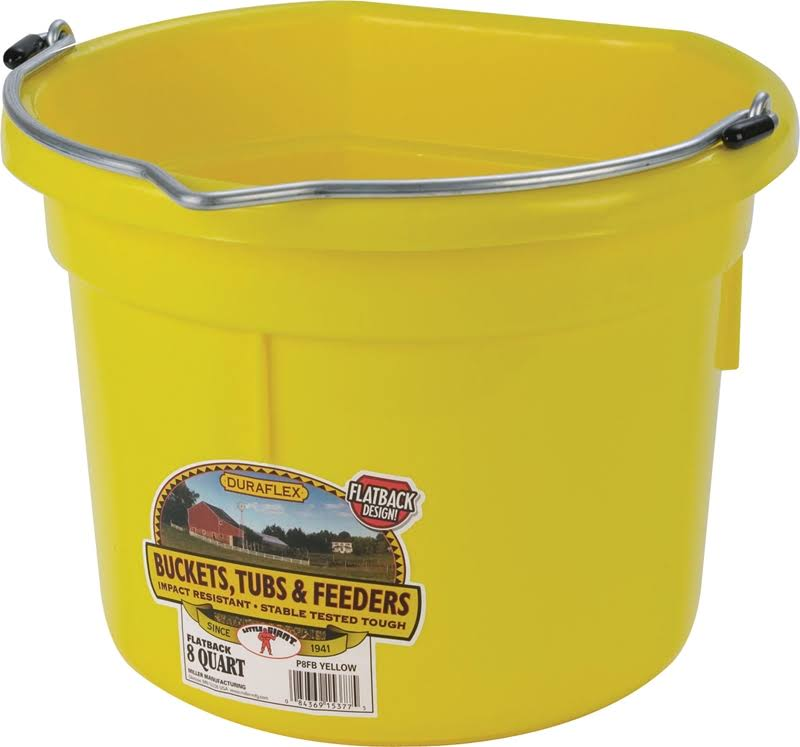 Miller Flat Back Plastic Bucket - Yellow, 8 Quart