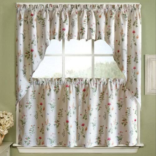 Lorraine Home Fashions English Garden Swag Pair - 55x38 White/Multi