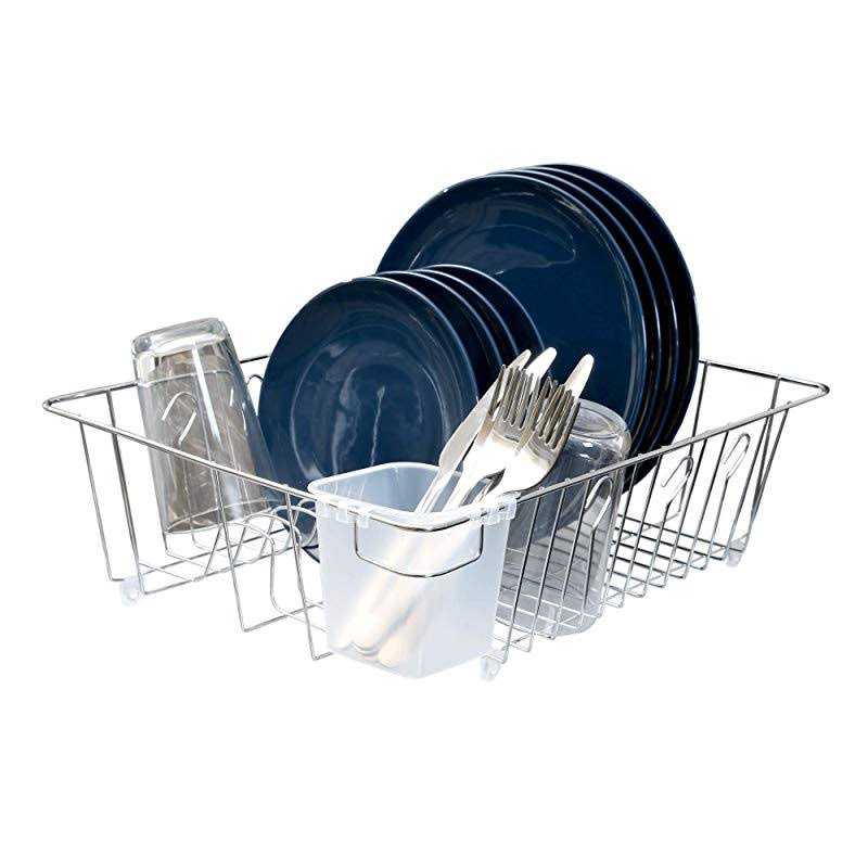 Pro Mart Dazz Large Dish Drainer - with Cutlery Cup, Chrome