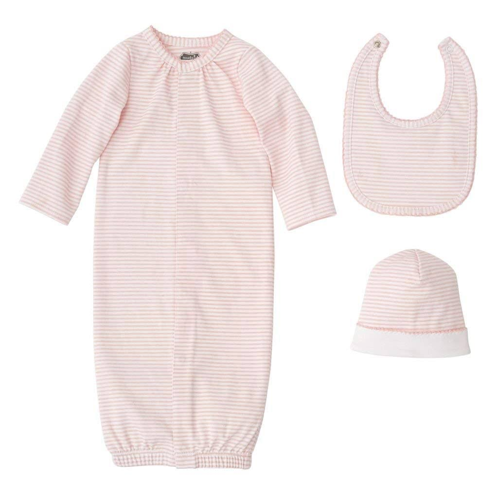Mud Pie E8 Classic Layette Baby Girl Sleep Gown Bib and Cap Hat Gift Set - 3pcs