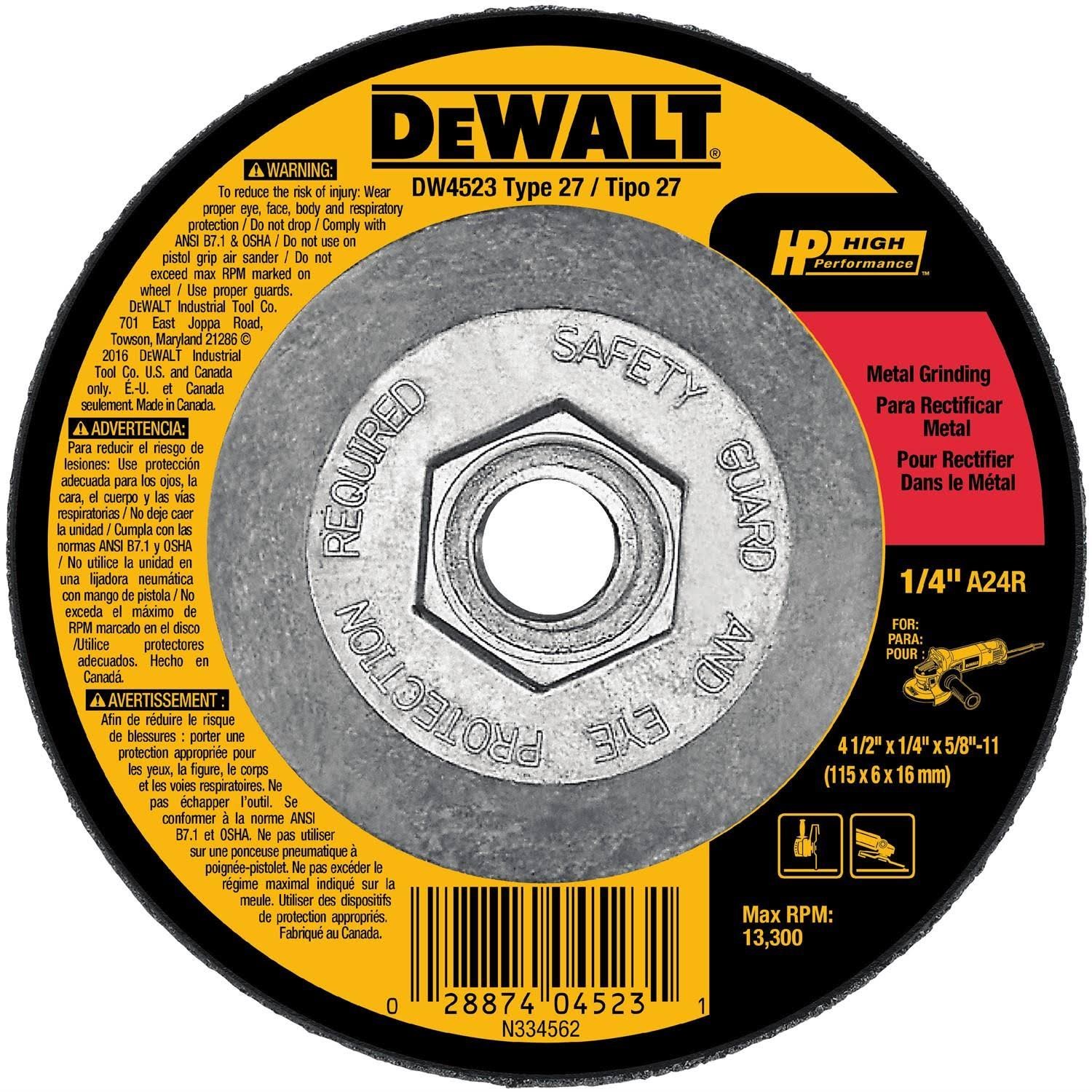 "DeWalt High Performance Metal Grinding Wheels - 4 1/2"" x 1/4"" x 5/8"""