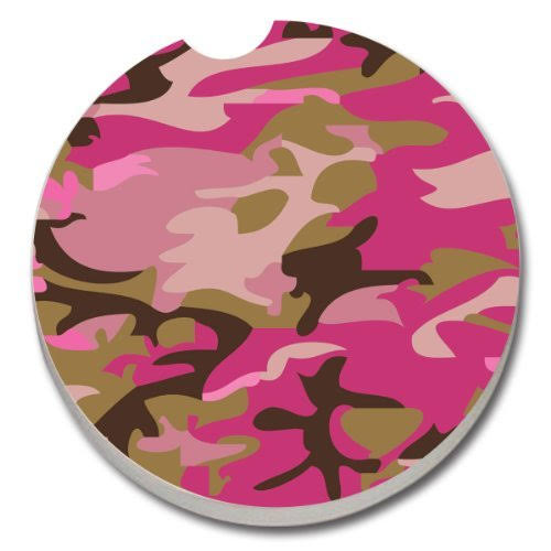 Counterart Absorbent Stoneware Car Coaster, Pink Camouflage 1 Count