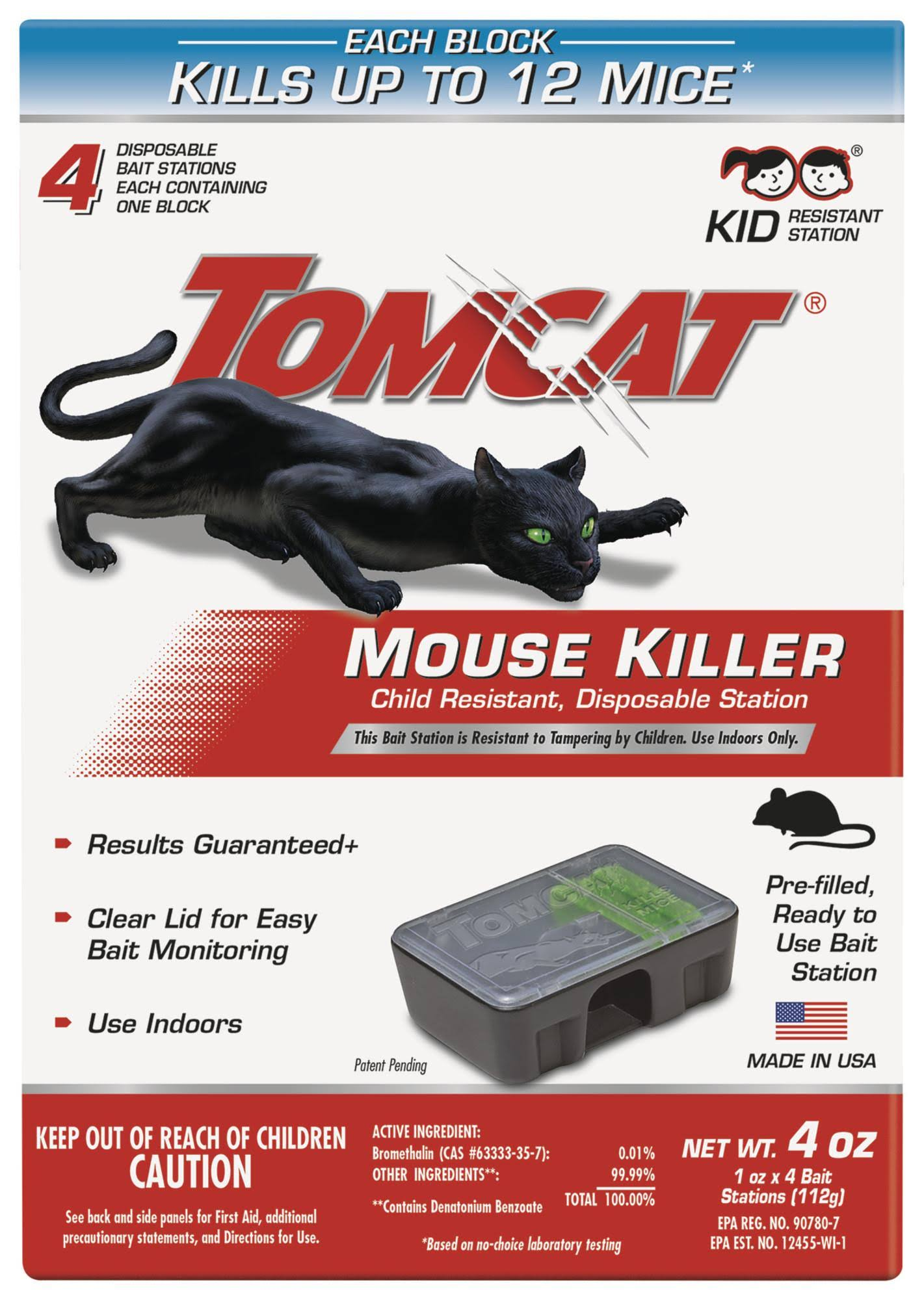 Tomcat Disposable Mouse Killer Bait Stations - 4 Disposable Bait Stations