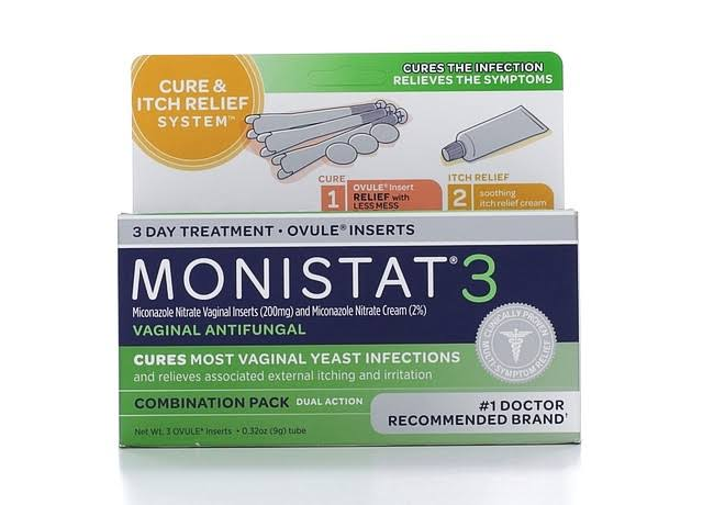 Monistat Cure and Itch Relief Vaginal Antifungal 3-Day Treatment with Ovules Insert - 0.32oz