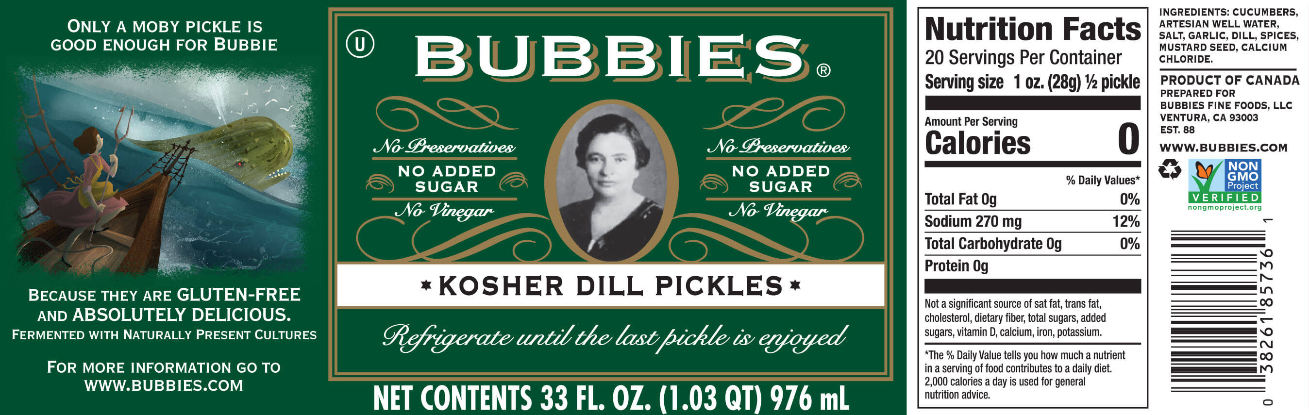 Bubbies Kosher Dill Pickles - 33 fl oz