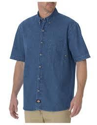 short sleeve button down denim shirt mens shirts dickies