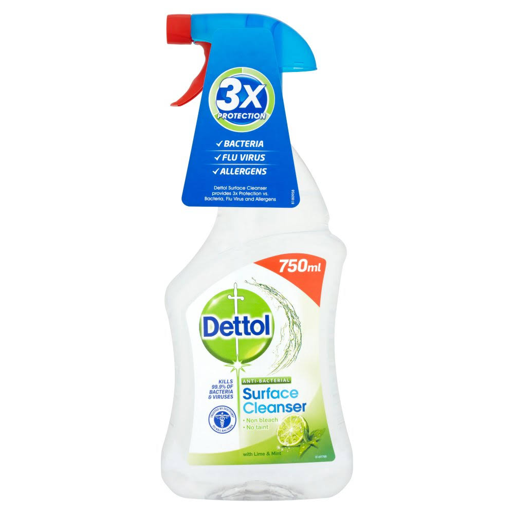 Dettol Antibacterial Surface Cleaning Spray - Lime and Mint, 750ml