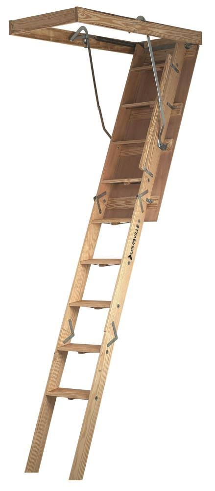 Louisville Ladder CL254P 10 Ft. Wood Attic Ladder
