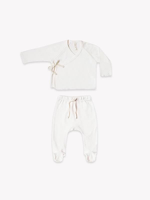 Quincy Mae Kimono Top + Footed Pant Set- Ivory 0-3M