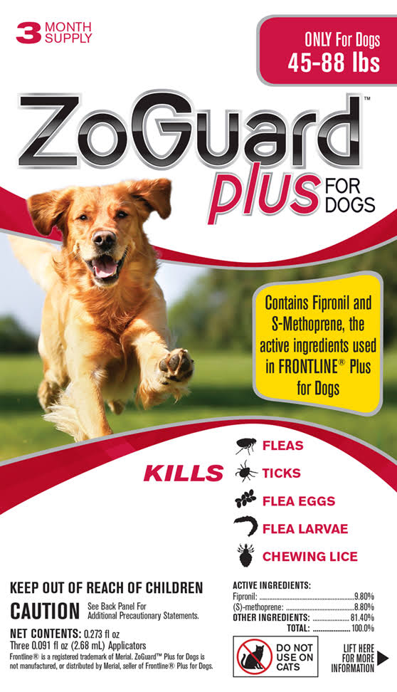 ZoGuard Plus Drops for Dogs Flea and Tick Treatment - 89-132lb, 3pk