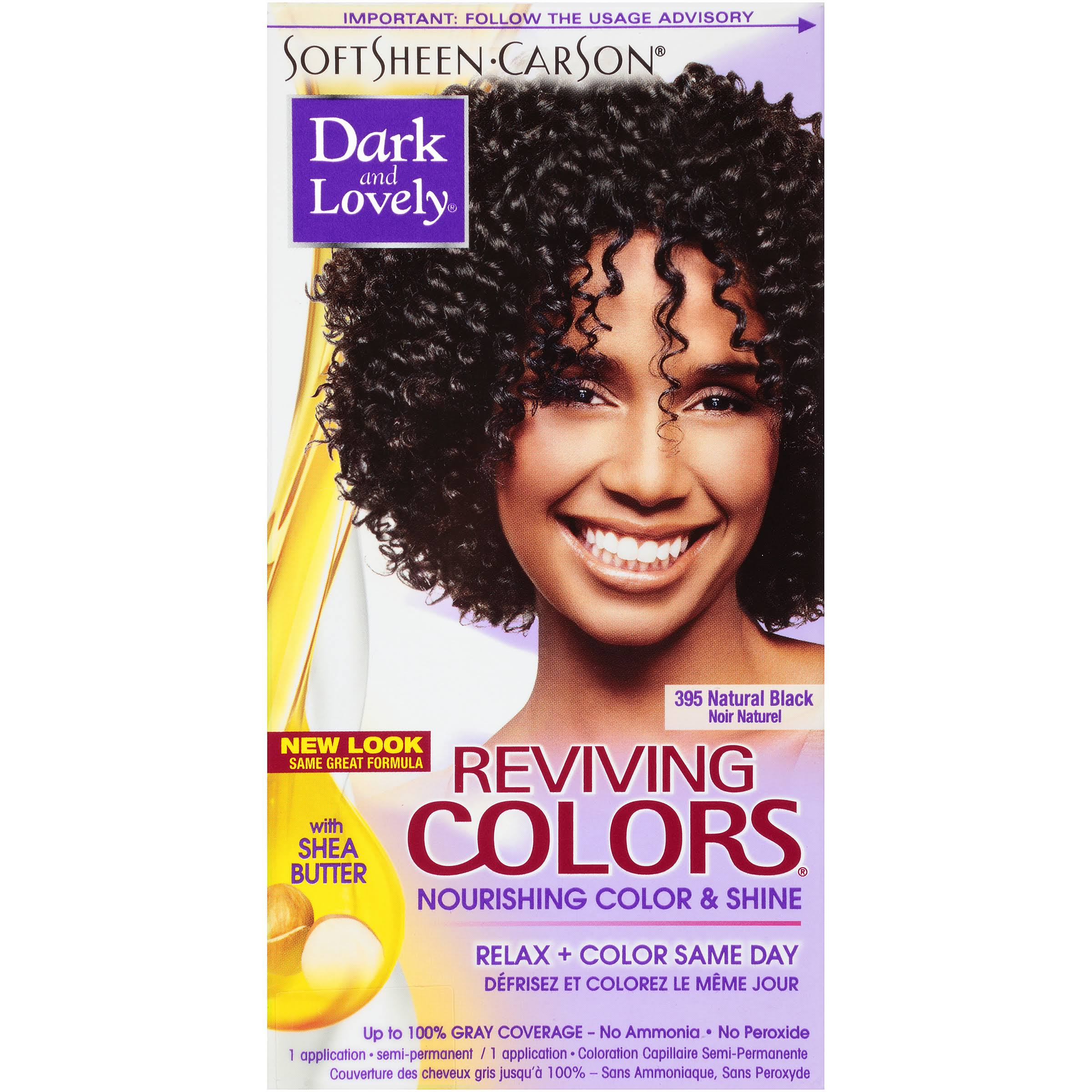 SoftSheen-Carson Dark and Lovely Hair Reviving Colors - Nourishing Color and Shine, Natural Black 395