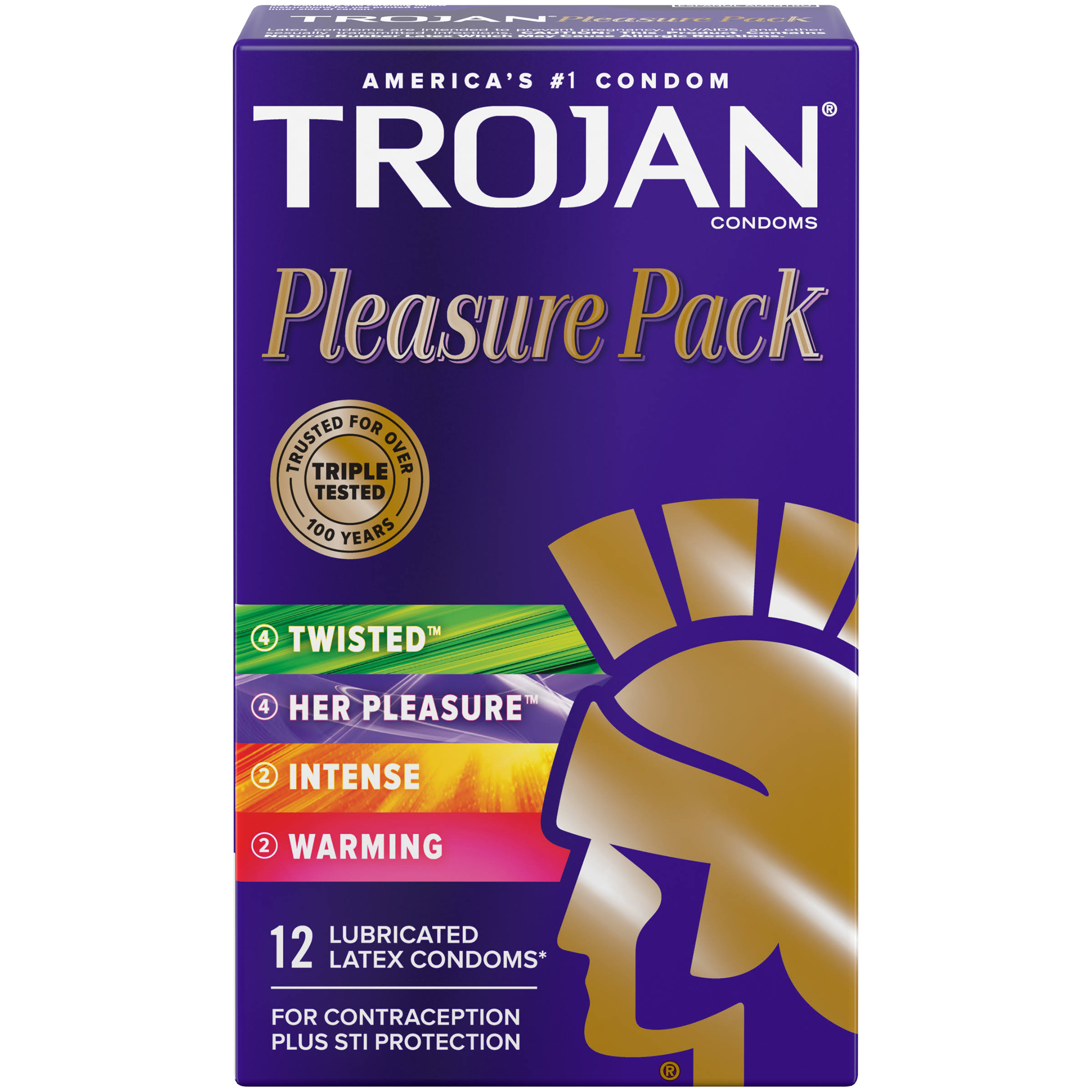 Trojan Lubricated Premium Latex Condoms Pleasure Pack - 12 Pack