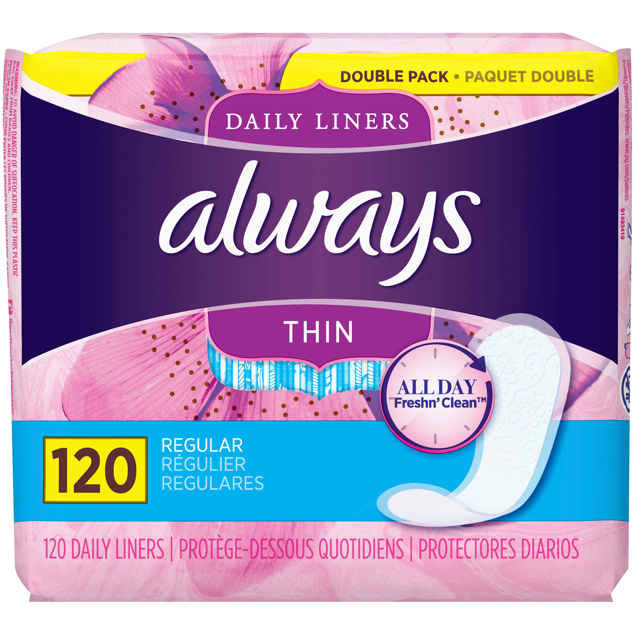 Always Dailies Thin Regular Liners - 120pk