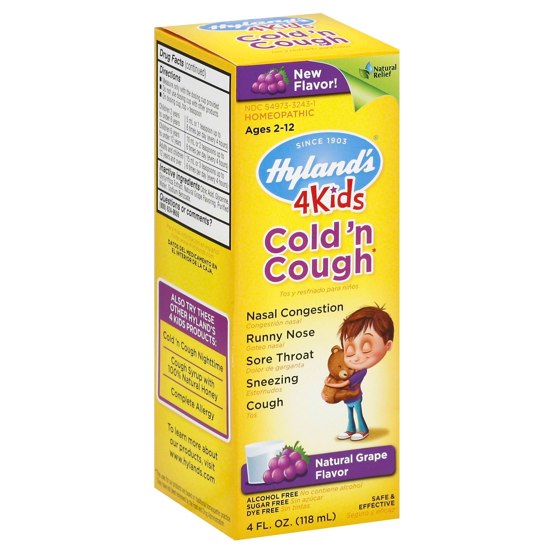 Hyland's Cold 'n Cough 4 Kids Syrup - Grape, 4 oz