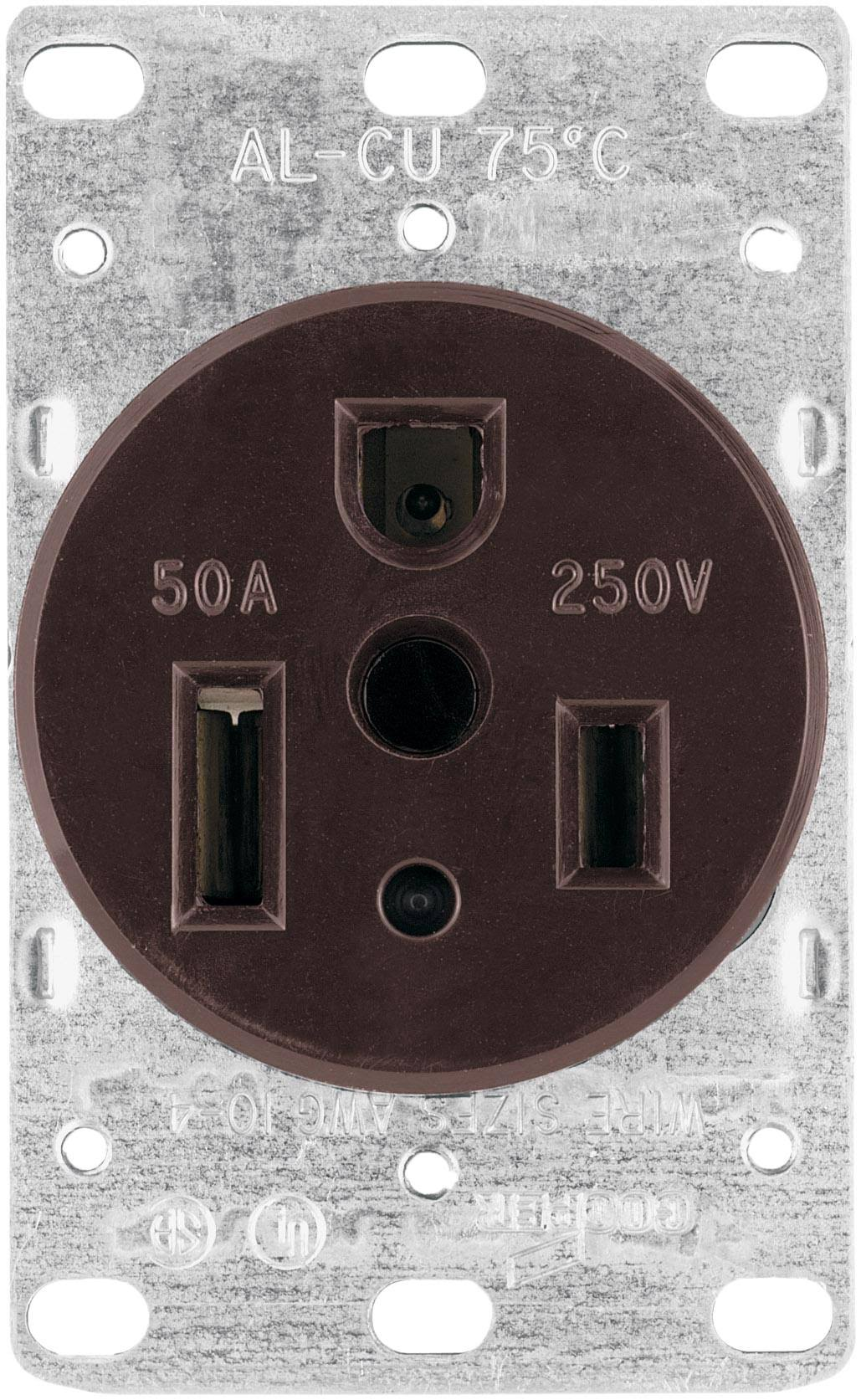 Cooper Wiring Devices 50 Amp Heavy-Duty Grade Flush Mount Power Receptacle