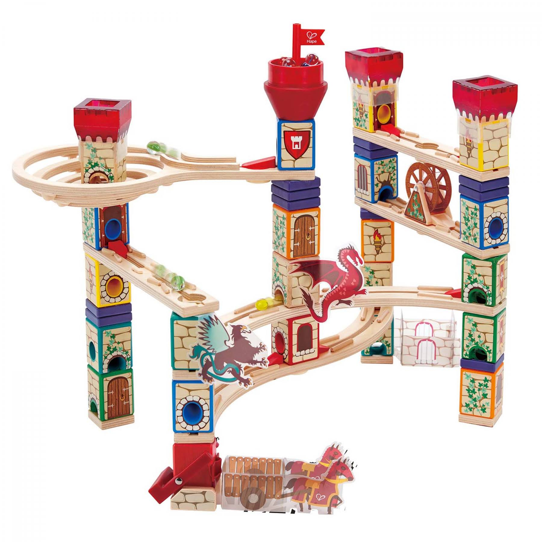 Hape Quadrilla Medieval Quest Wooden Marble Run Building Kit - 217pcs