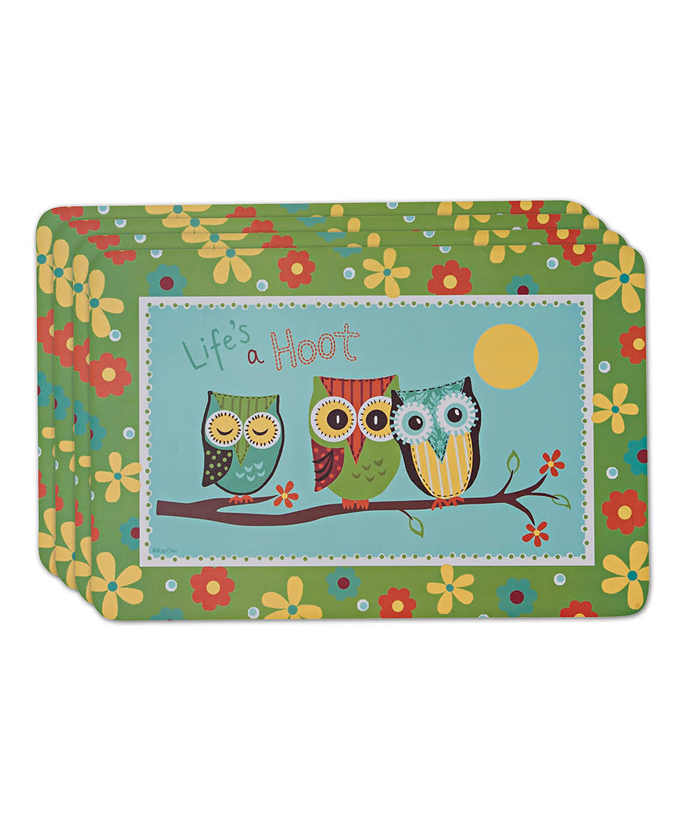 Kay Dee Designs Life's A Hoot Laminate Placemat Blue, Green One Size