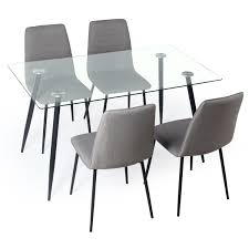 Cheap Dining Room Sets Uk by Gerona Glass Table And Four Chairs Set