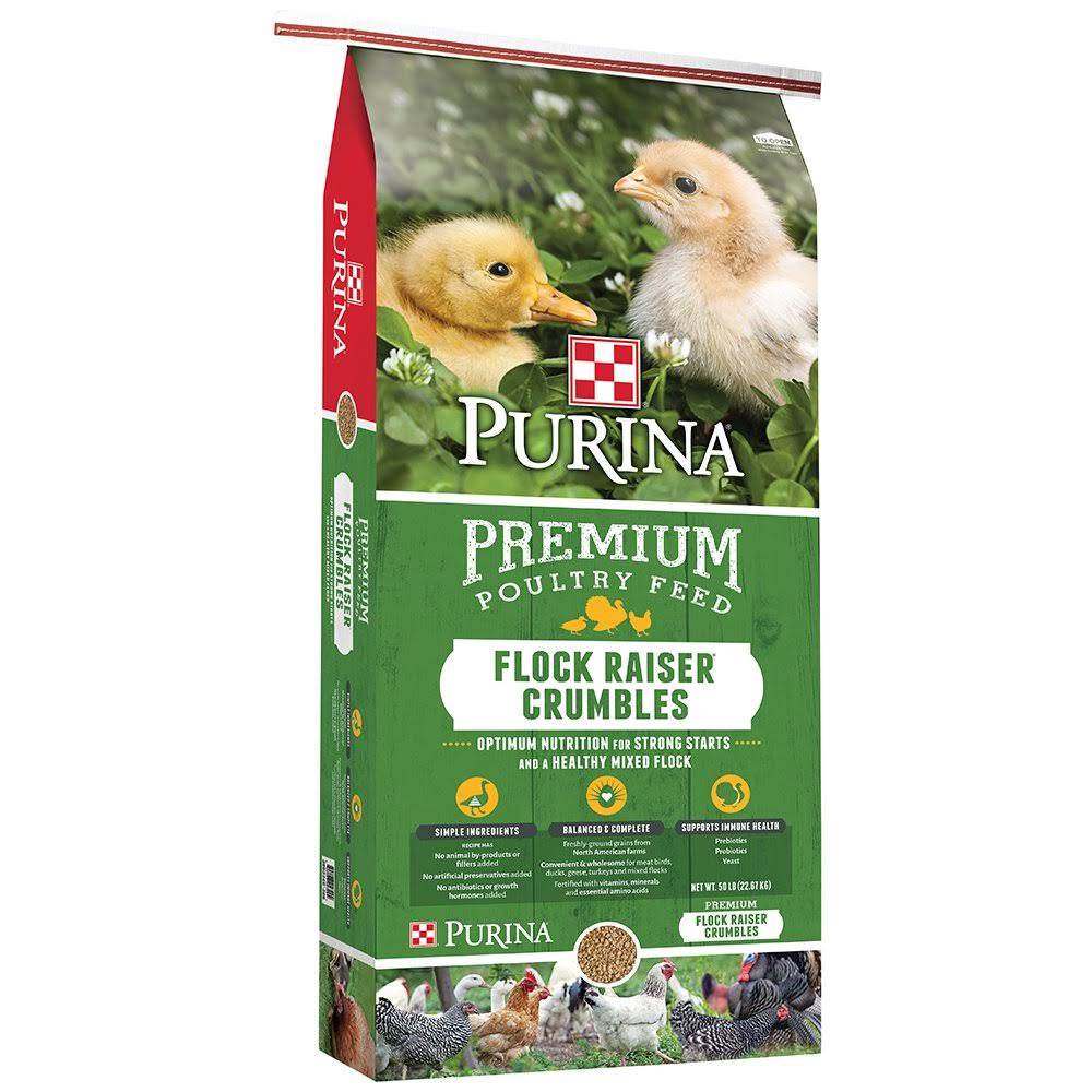 Purina Animal Nutrition Flock Raiser Crumbles Premium Poultry Feed