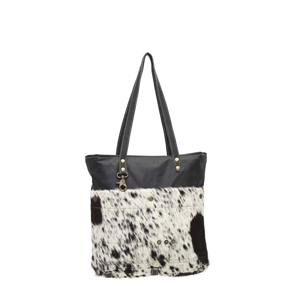 Myra Bag Shades of Black Genuine Hair on Leather Tote Bag