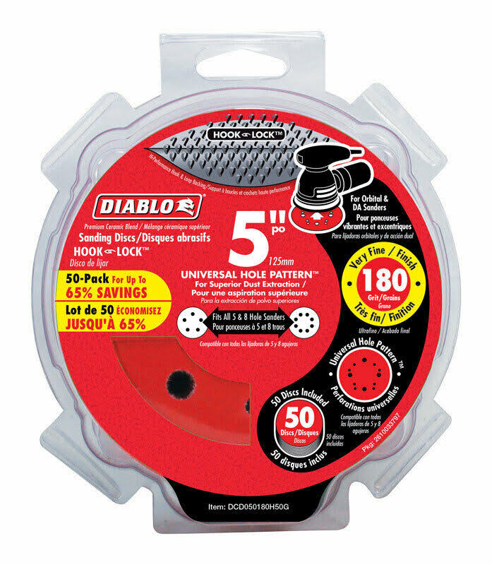 "Diablo Universal 5-Hole Hook and Lock Vented Sanding Disc - 180 Grits, 5"", 50ct"