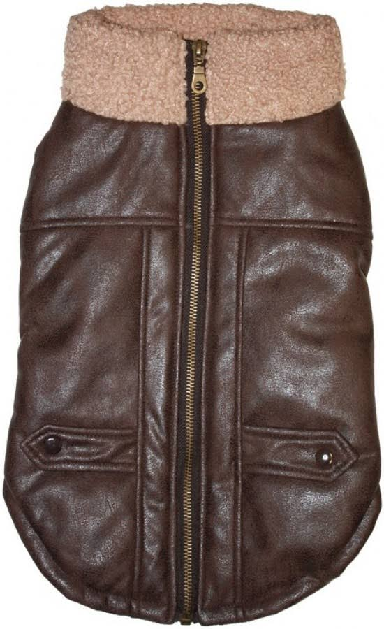 Fashion Pet Brown Bomber Dog Jacket - Large