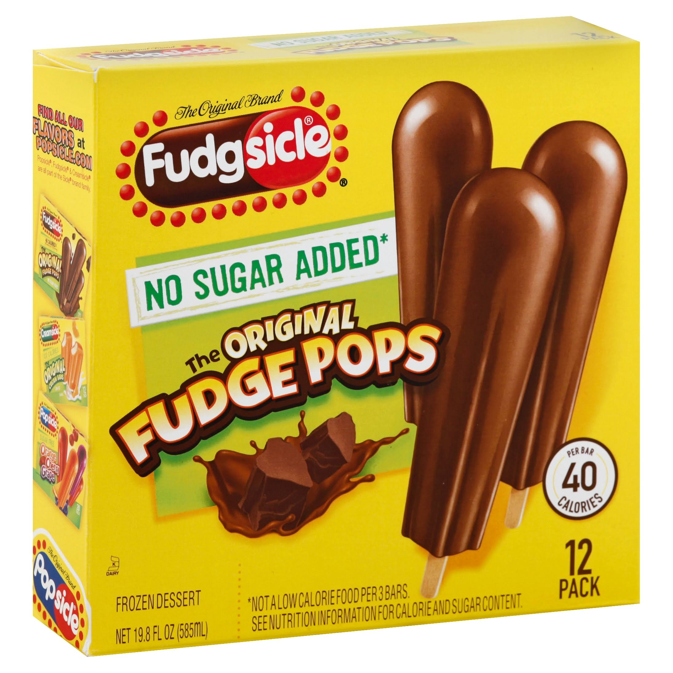 Popsicle Fudgsicle Fudge Pops - Original, No Sugar Added, 12ct