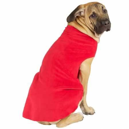 Gold Paw Stretch Fleece Dog Coat - Red, Size 12