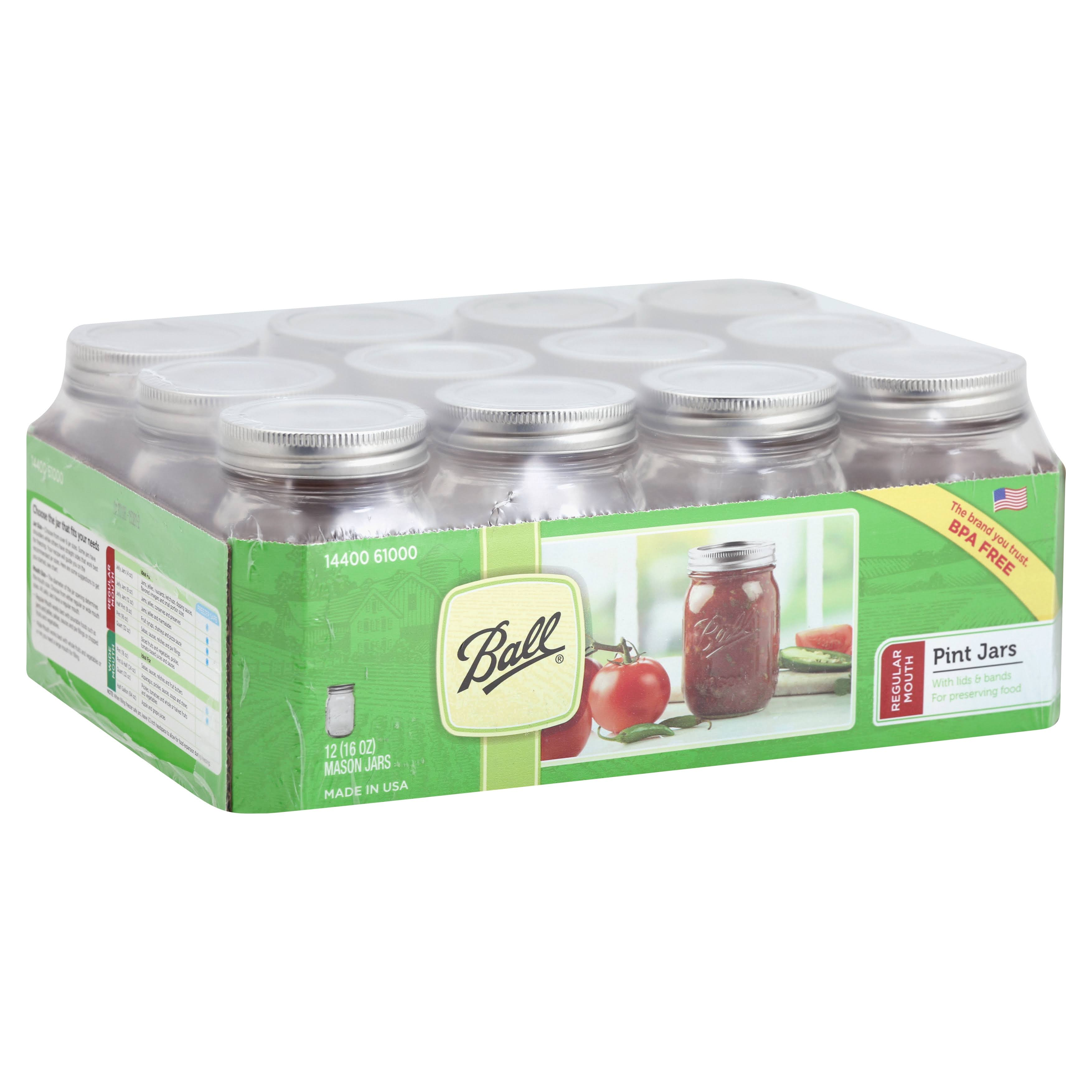 Ball Regular Mouth Mason Jars, 16 oz - 12 count