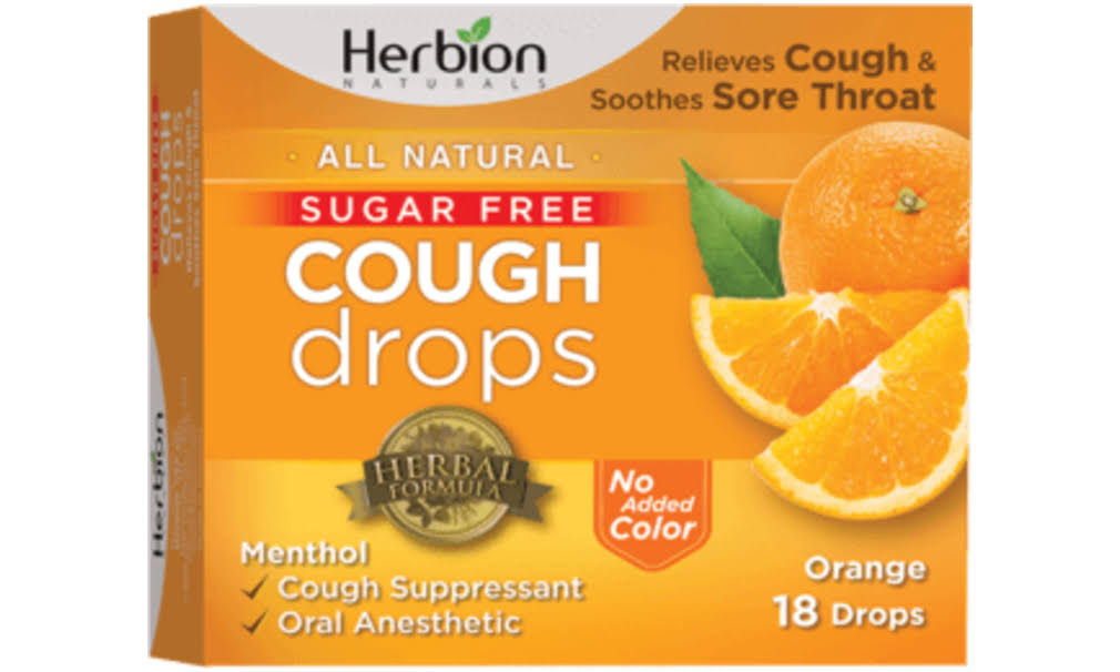 Herbion Sugar Cough Drops Relief - Orange, 18 Lozenges