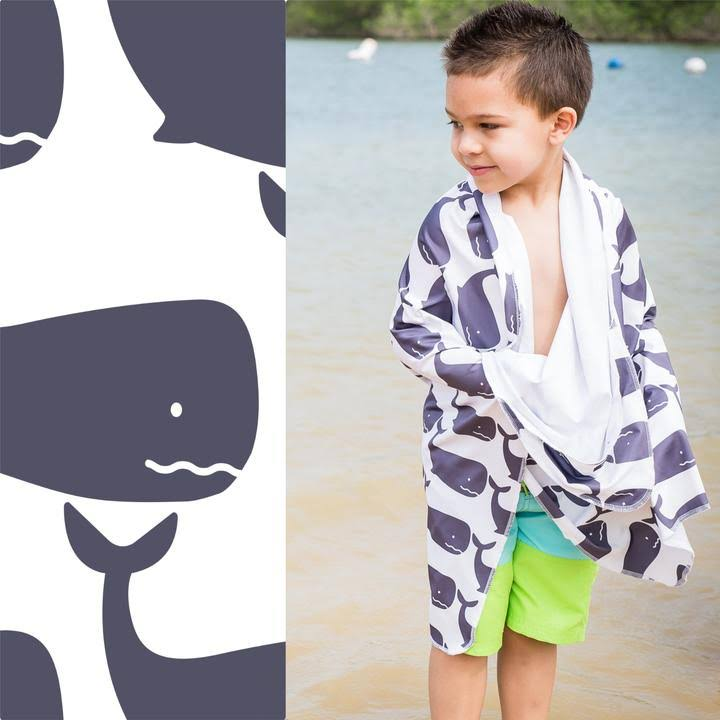 Luv Bug Sunscreen Towel W/Hood- Whales