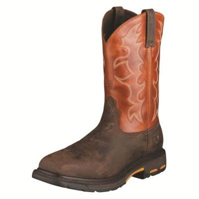 Ariat Men's Workhog Steel Toe Work Boots - Dark Earth & Brick, 10.5 EE US