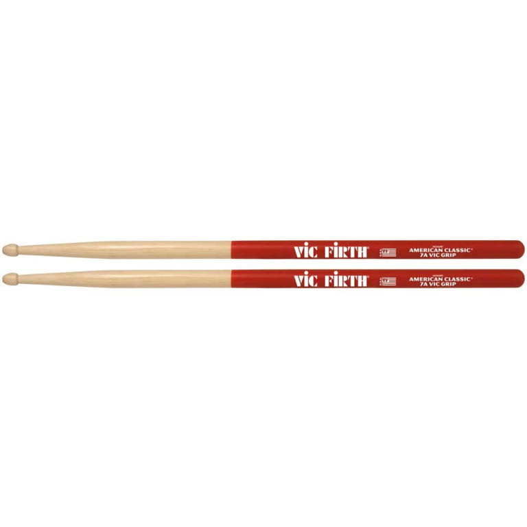 Vic Grip Hickory Wood Tip Drumsticks - 7A
