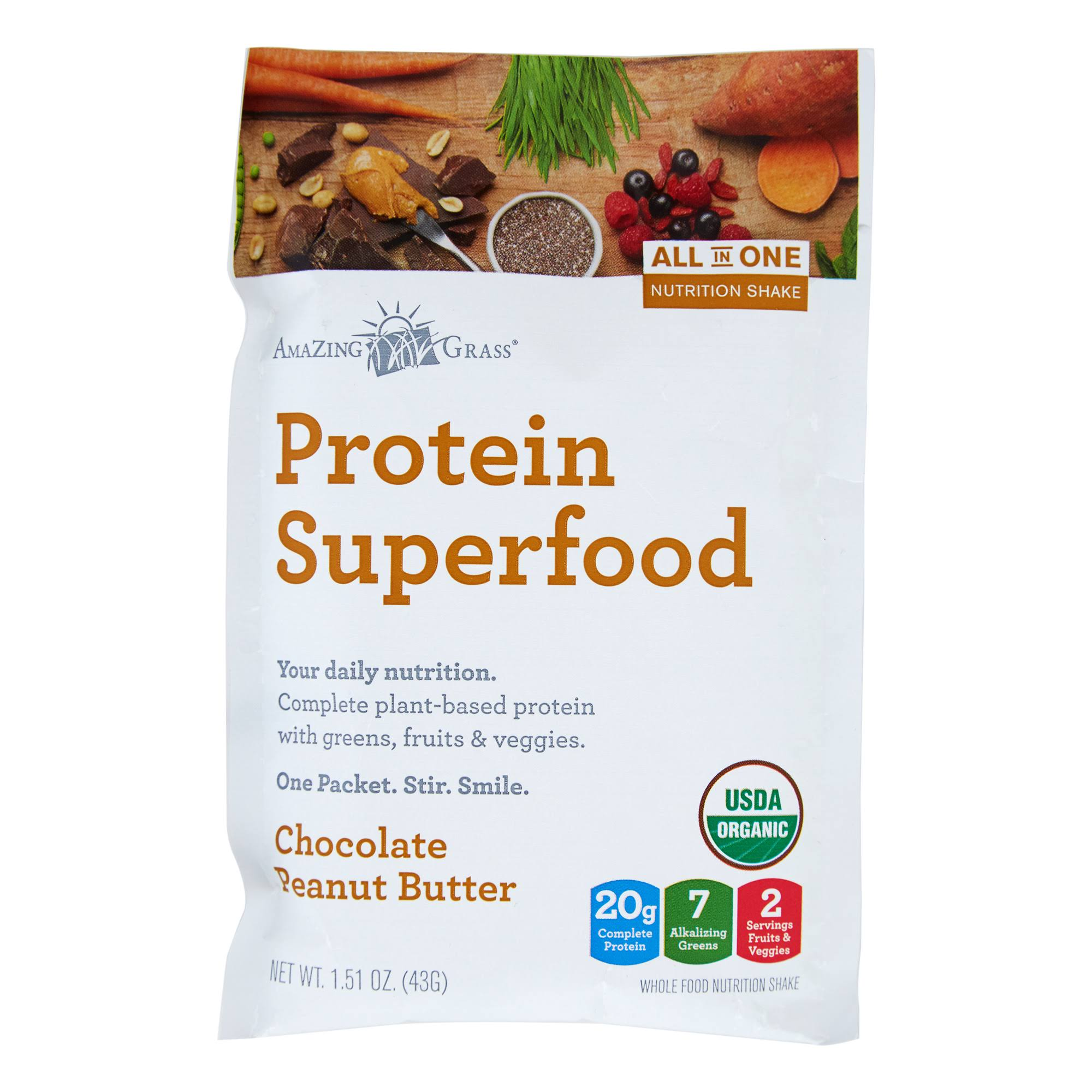 Amazing Grass Protein Superfood, Chocolate Peanut Butter - 1.51 oz