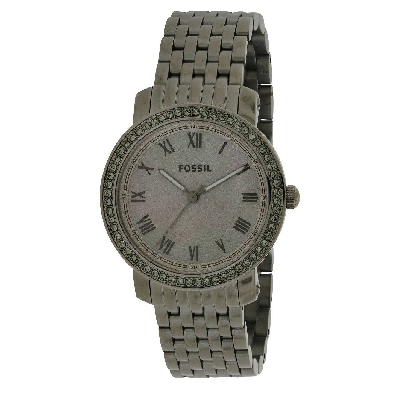 Fossil Emma Ladies Bracelet and Case Quartz Watch - Silver Steel, 38mm