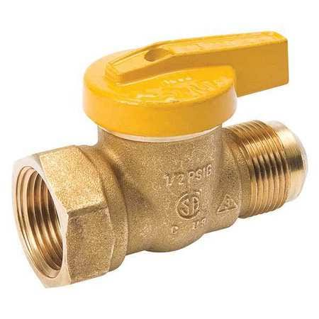 "Mueller B and K Flare X Female Gas Ball Valve - 3/8"" x 1/2"""