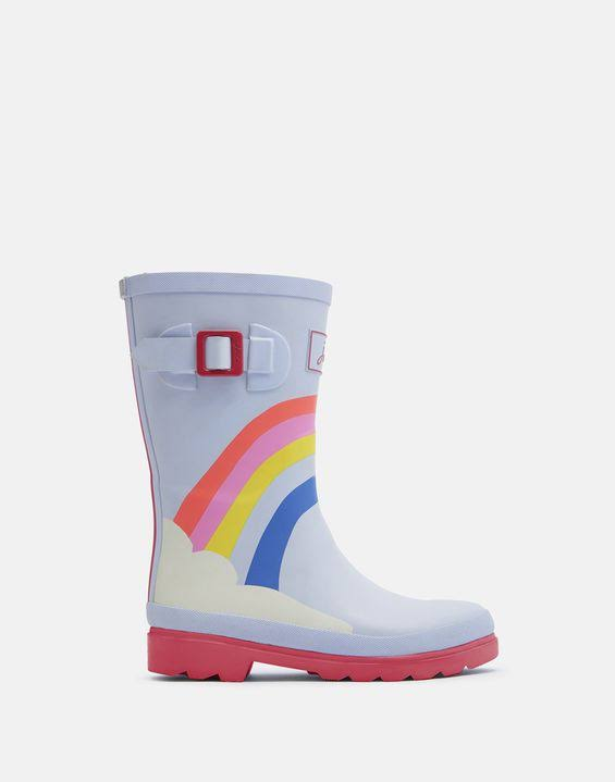 Joules Girls Junior Printed Welly - 1 / Blue Rainbow