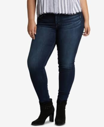 Silver Jeans Co. Plus Size Suki Mid-Rise Curvy Fit Skinny Jeans in Indigo W93023ssx317 Jeans