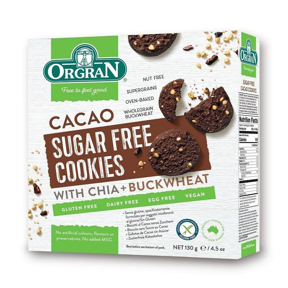 Orgran Cacao Sugar Free Cookies - with Chia & Buckwheat, 130g