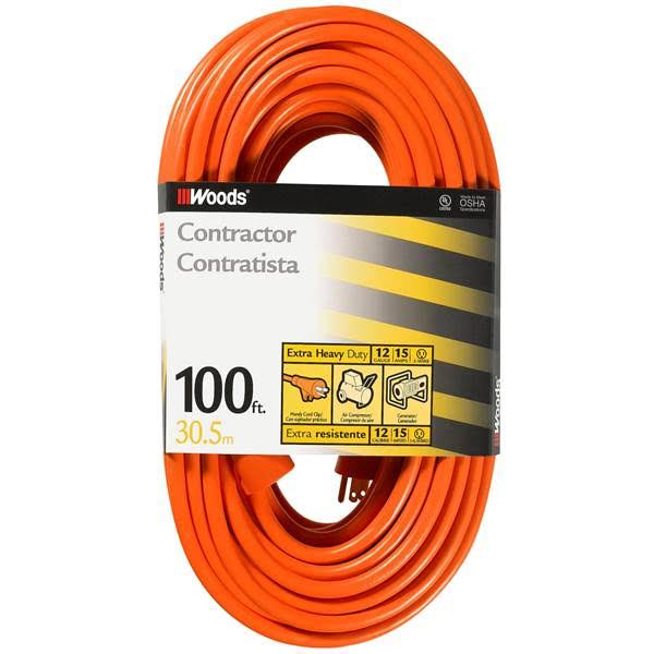 Woods 0530 Outdoor SJTW Vinyl Extension Cord - 100', Orange